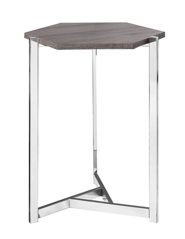 Adrien Accent Table - Hexagon / Dark Taupe / Chrome Metal (4391171326004)