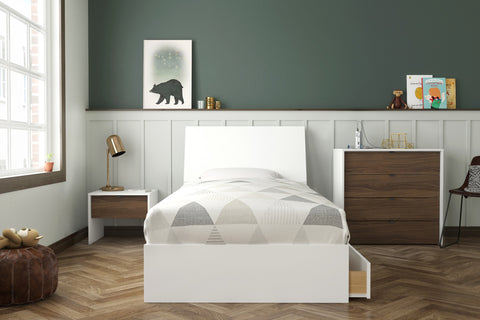 Sahara 4 Piece Twin Size Bedroom Set, White & Walnut