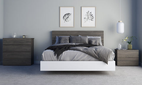Pure 4 Piece Queen Size Bedroom Set, Bark Grey and White