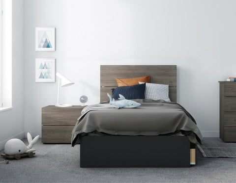 Chinook 3 Piece Twin Size Bedroom Set, Bark Grey and Black