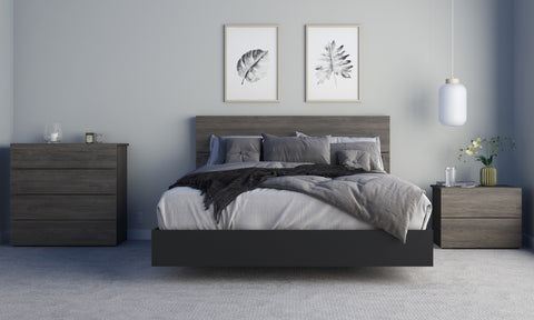 Apollo 4 Piece Queen Size Bedroom Set, Bark Grey and Black
