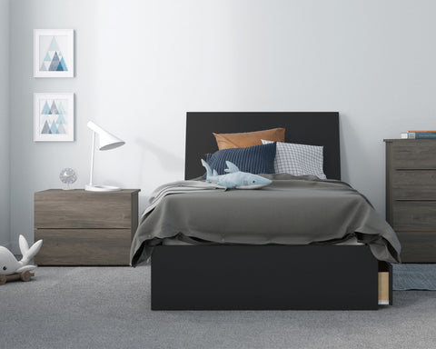 Atrium 3 Piece Twin Size Bedroom Set, Bark Grey and Black