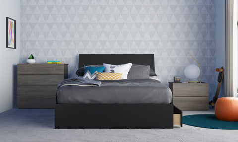 Atrium 4 Piece Full Size Bedroom Set, Bark Grey and Black