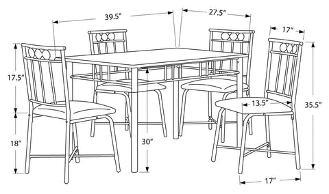 Brittaney Dining Set - 5Pcs Set / Black Metal And Top