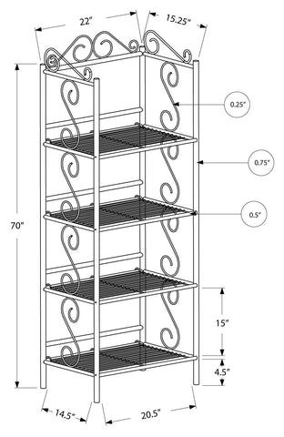 "An Bookcase - 70""H / Copper Metal Etagere"
