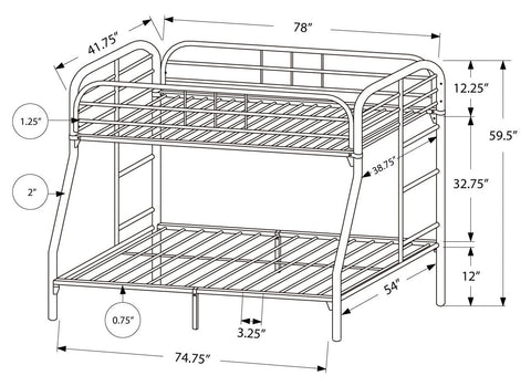 Charlotte Bunk Bed - Twin / Full Size / Black Metal