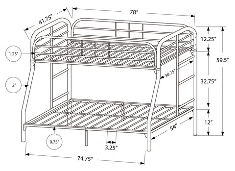 Luanne Bunk Bed - Twin / Full Size / Silver Metal