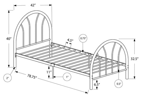 Carletta Bed - Twin Size / Black Metal Frame Only (4397500039220)