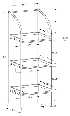 "Marianna Bookcase - 48""H / White / Silver Metal"