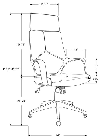 Caroline Office Chair - White / Grey Fabric / High Back Executive (4401122181172)