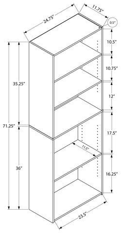 "Troy Bookcase - 72""H / Cappuccino With 5 Shelves"
