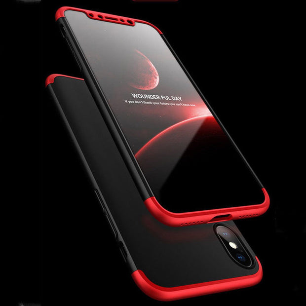 3 In 1 Full Coverage Protective Case With Tempered Glass Screen Protector Transparent Clear Anti Scratch Hard Cover For IPhone X