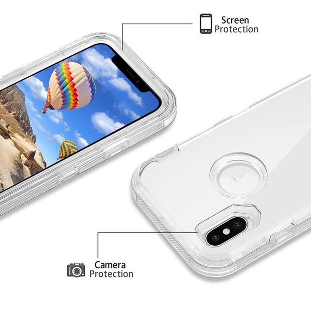3 In 1 Clear Robot Transparent Case Cover For IPhone X XS MAX 8 7 Plus 360 Full Protect Shockproof Clear Hard PC Cute Bling Case