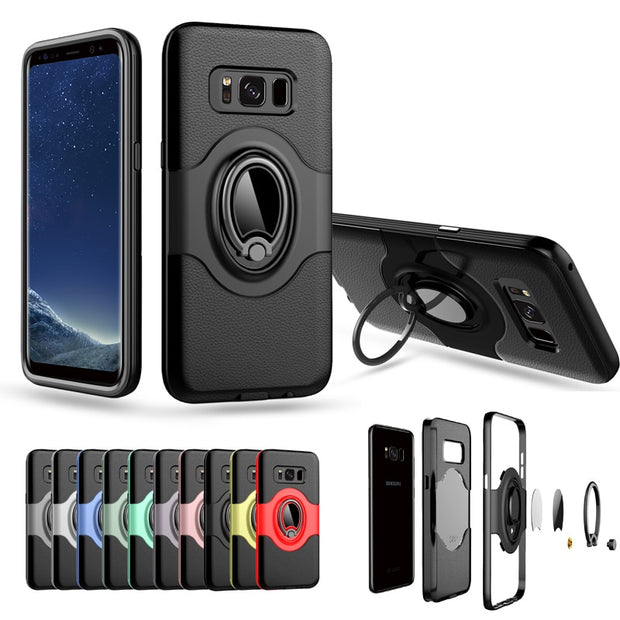 360 Degrees Adjustable Ring Stand Grip Shock Absorbing Soft TPU +Hard PC Back Cover Case For Samsung Galaxy S8/galaxy S8 Plus