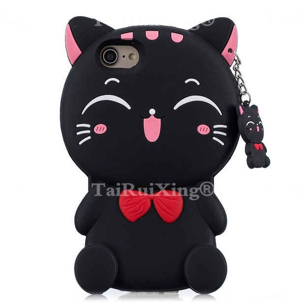 3D Cartoon Pink Unicorn Beard Cat Phone Silicone Soft Case Cover For LG K7 Q7 X210 MS330 LS675 Tribute 5 Cases Gel Shell