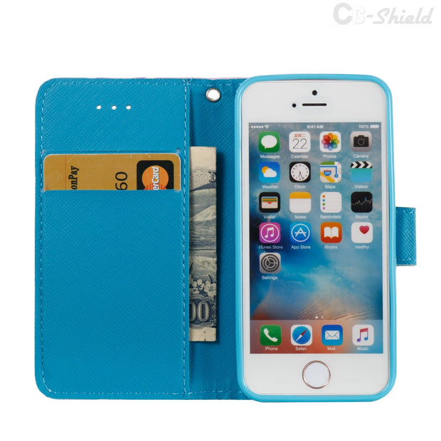 3D Painting Phone Leather Case For Apple IPhone 5 S E 5S IPhone5 IPhone5S IPhoneSE Luxury Wallet Card Slot Phone Silicone Box