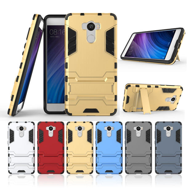 AIPUWEI CASE FOR Xiaomi Redmi 4 Prime Case Redmi4 Prime Cover Iron Man Shockproof Cover TPU+PC+Stand For Xiaomi Redmi 4 Pro Bag