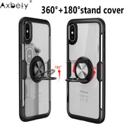 AXBETY For Redmi Note 5 Pro For Xiaomi MI 8se Fashion Transparent Crystal Back Stand Cover For Silicon Case For Redmi Note5 Pro