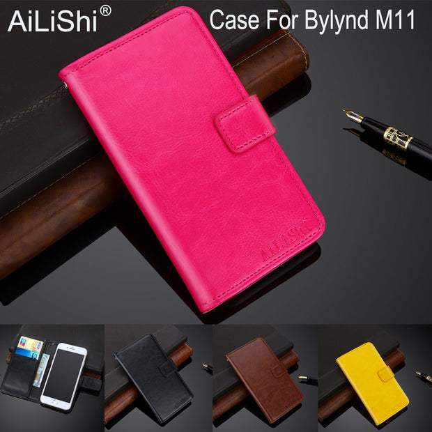AiLiShi 100% Exclusive Case For Bylynd M11 Luxury Leather Case Flip Top Quality Cover Phone Bag Wallet Holder + Tracking Hot