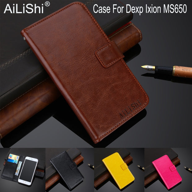 AiLiShi 100% Exclusive Case For Dexp Ixion MS650 Luxury Leather Case Flip Top Quality Cover Phone Bag Wallet Holder + Tracking