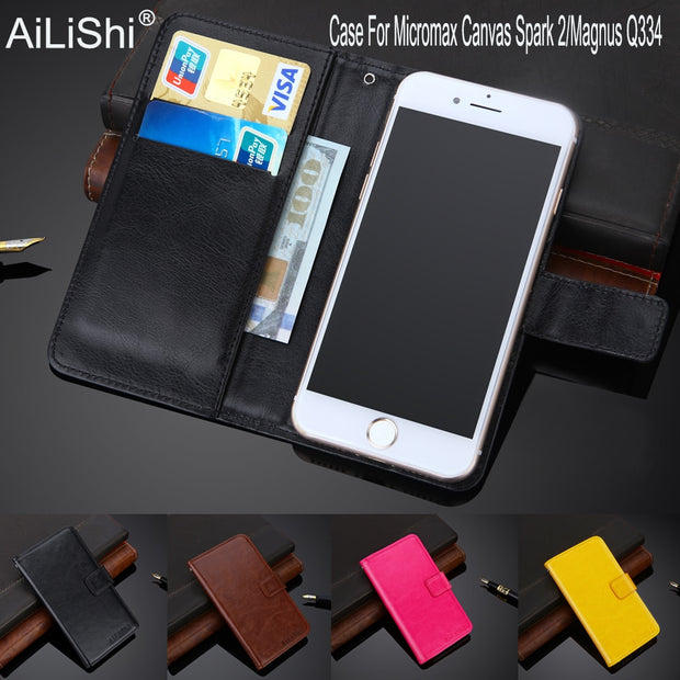 AiLiShi 100% Exclusive Case For Micromax Canvas Spark 2/Magnus Q334 Leather Case Flip Cover Phone Bag Wallet Holder + Tracking