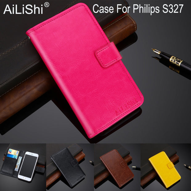AiLiShi 100% Exclusive Case For Philips S327 Luxury Leather Case Flip Top Quality Cover Phone Bag Wallet Holder + Tracking