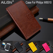 AiLiShi 100% Exclusive Case For Philips W8510 Luxury Leather Case Flip Top Quality Cover Phone Bag Wallet Holder + Tracking Hot