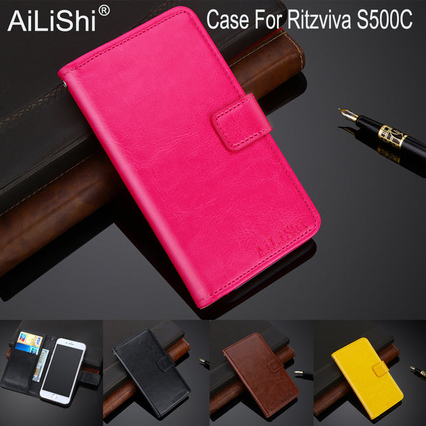 AiLiShi 100% Exclusive Case For Ritzviva S500C Luxury Leather Case Flip Top Quality Cover Phone Bag Wallet Holder + Tracking