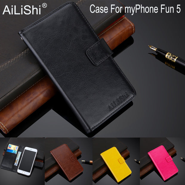 AiLiShi 100% Exclusive Case For MyPhone Fun 5 Luxury Leather Case Flip Top Quality Cover Phone Bag Wallet Holder + Tracking