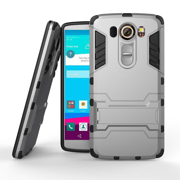 Armor Case For LG V10 F600 H968 Heavy Duty Hybrid Hard Soft Rugged Silicone Rubber Phone Cover Case Coque With Stand Function (