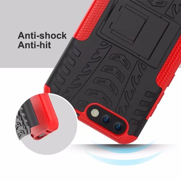 Armor Series Kickstand Heavy Duty Hybrid Shockproof Dual Layer Protective Case Cover With Stand For Asus ZenFone 4 ZE554KL