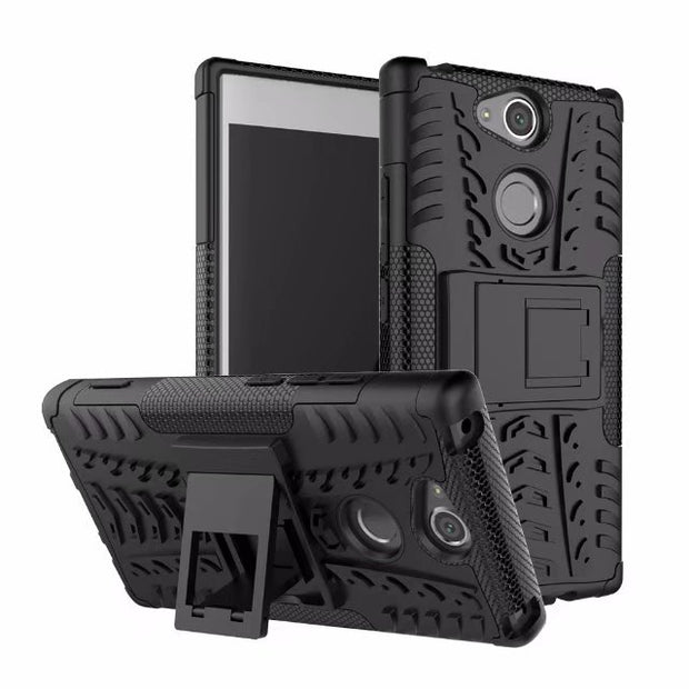 Armor Tough Rugged Shockproof Dual Layer Hybrid Hard/Soft Slim Protective Case With Stand For Sony Xperia XA2/XA2 Ultra