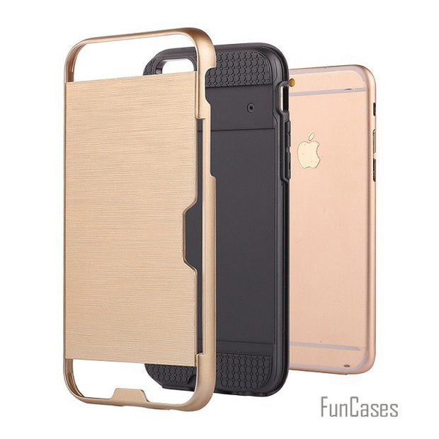 Armor Brushed Plastic TPU Hybrid 2 In 1 Case For IPhone 6s 6 SE 5S 5g 6/6s Plus Card Holder Slot Hard Shock Proof Back Cover Cas