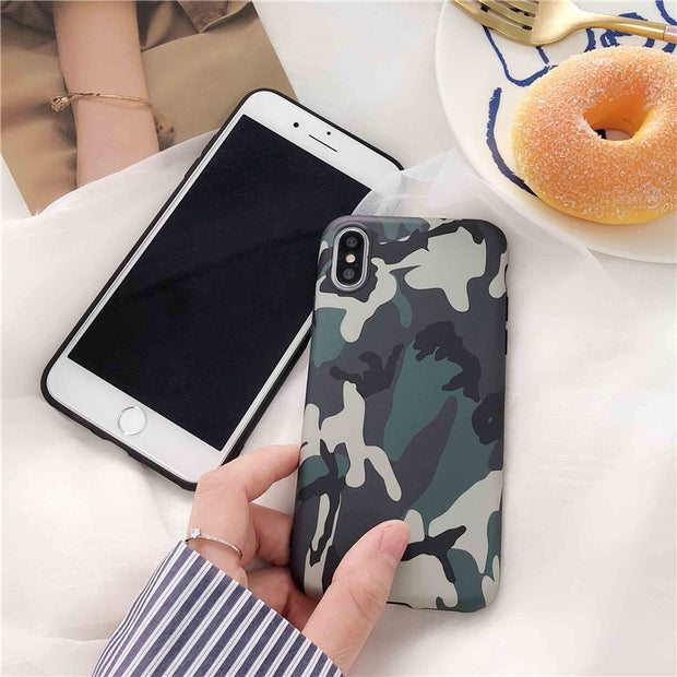 Army Green Camouflage Case For IPhone X XS Max XR For IPhone 6 6S 7 8 Plus Soft TPU Silicon Phone Cases Back Cover For Iphone 7