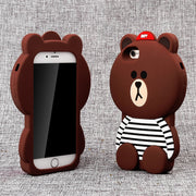 BALMORA Cute Bear Phone Case For IPhone 6 6s 7 8 Plus Cases 3D Rubber Animals Soft Silicon Cover For IPhone 4 4s 5 5s 5C Se X
