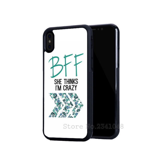 BFF Best Friends I Am Crazy Foreve Pair Silicone Softe Phone Cases For IPhone 5s Se 6 6s Plus 7 7plus 8 8plus X XR XS MAX Cover