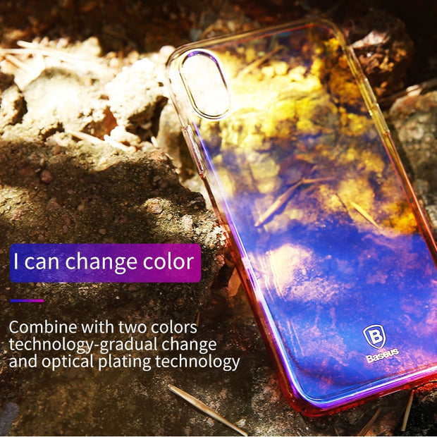 Baseus Luxury Gradient Plastic Case For IPhone X Coque Fashion Blue Ray Light Plating Hard Case For IPhone X