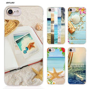 BiNFUL Beaches Shellfish Hard Clear Case Cover Coque For IPhone X 6 6s 7 8 Plus 5s SE 5 4s 4 5c