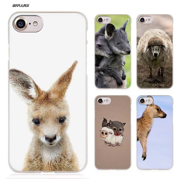 BiNFUL Kangaroo Boxing Sheep Hard Clear Case Cover Coque For IPhone X 6 6s 7 8 Plus 5s SE 5 4s 4 5c