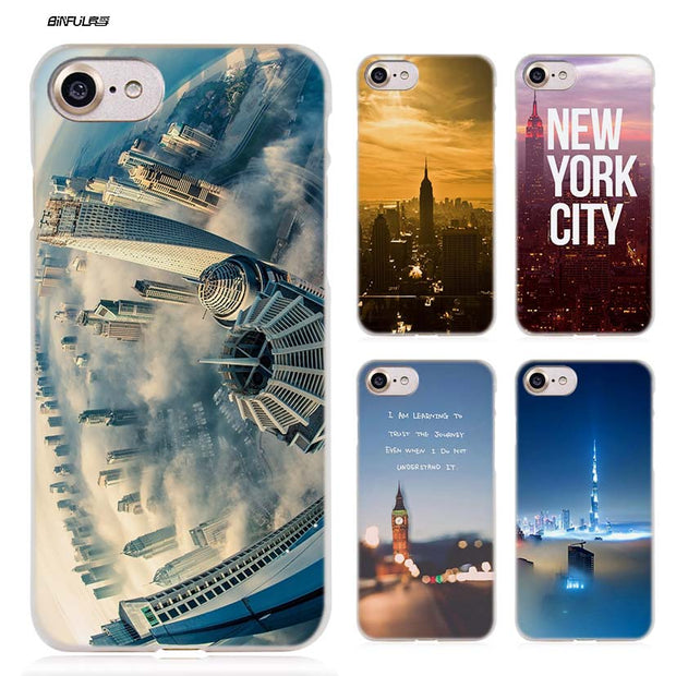 BiNFUL New York Sky City Hard Clear Case Cover Coque For IPhone X 6 6s 7 8 Plus 5s SE 5 4s 4 5c