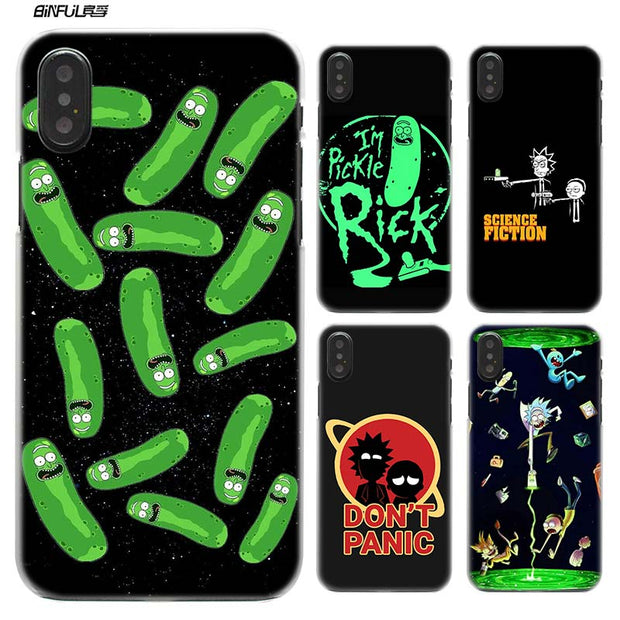 best service 71abf 4cfb7 BiNFUL Pickle Rick Morty Hard Plastic Clear Case Cover Coque For IPhone XS  Max XR X Or 10 6 6s 7 8 Plus 5s SE 5 4s 4 5c