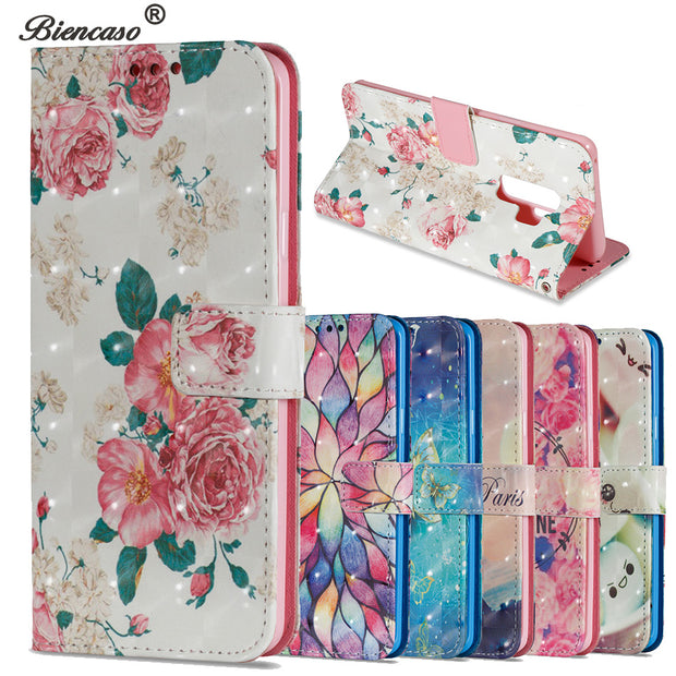 Biencaso Wallet Flip Case For Samsung Galaxy S9 G9600 S9 Plus SM-G9650 Note 8 SM-N950F Protective Cover For IPhone X Bags B21