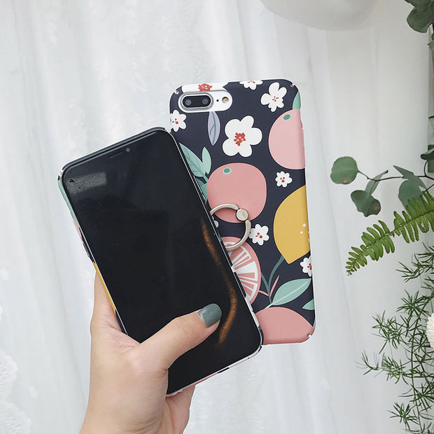 Boucho Cute Cartoon Fruit Flower Cover For Iphone XS MAX XR X 7 8 6 6S Plus Ring Phone Case Hard Plastic Cases With Finger Ring