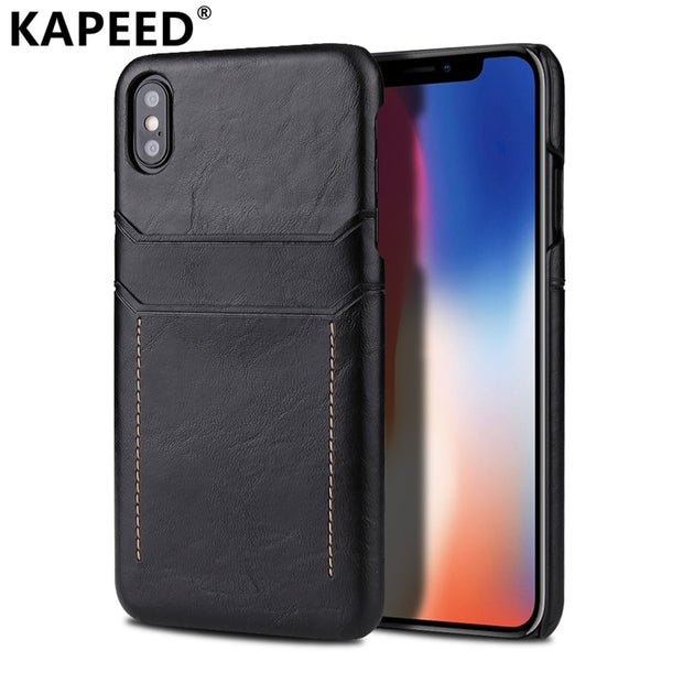 Business Anti-knock Case For Iphone X XR XS Max Luxury Dual Card Slot PU Leather Back Cover For Iphone X XR XS Max Case Fundas