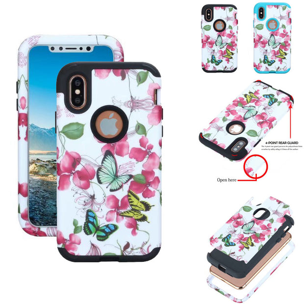 Butterflies Over Flowers Pattern Shockproof Tough Hybrid Armor Drop Protection Case Cover For IPhone X
