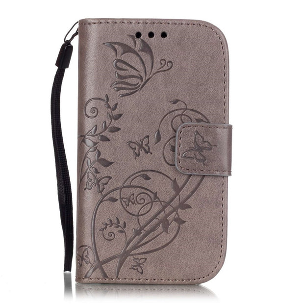 Butterfly Flower For Samsung Galaxy S3 Mini Leather Case Flip Silicone Back Cover For Samsung Galaxy S3Mini I8190 I8190n Case