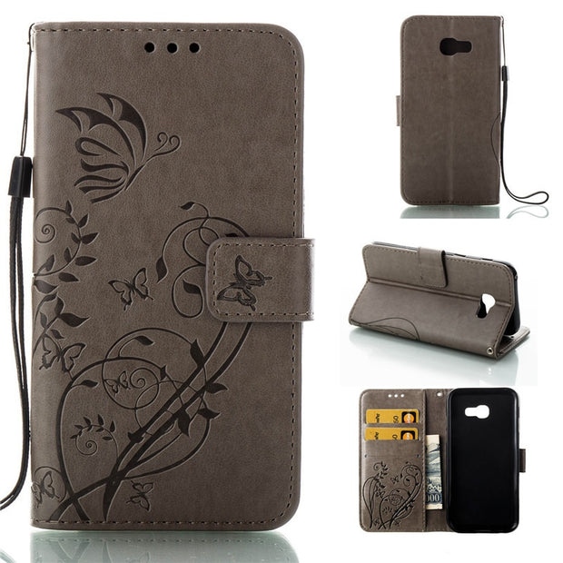 Butterfly Flower Phone Hoesje For Samsung Galaxy A5 2017 Flip Case Stand Silicone Cover For Samsung Galaxy A5 2016 Leather Case