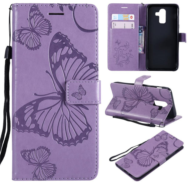 sports shoes 6dc63 138d4 Butterfly Embossed Wallet Case For Samsung J8 2018 On8 SM-J810F SM-J810G/DS  SM-J810GF SM-J810G SM-J810M Cover Mobile Phone Shell