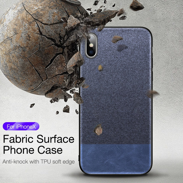 CAFELE Cloth Texture Soft TPU Edge Case For IPhone X XR XS Max Plush Fabric Canvas Case For IPhone 10 XSMAX Hard PC Backing Case