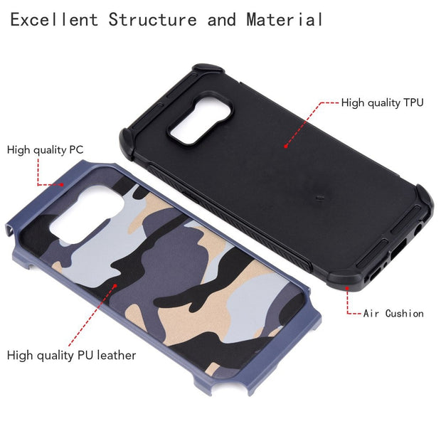 Camouflage Case For Samsung Galaxy S8 S8 Plus Army Camo Camouflage Pattern PC+TPU 2 In1 Anti-knock Protective Back Cover